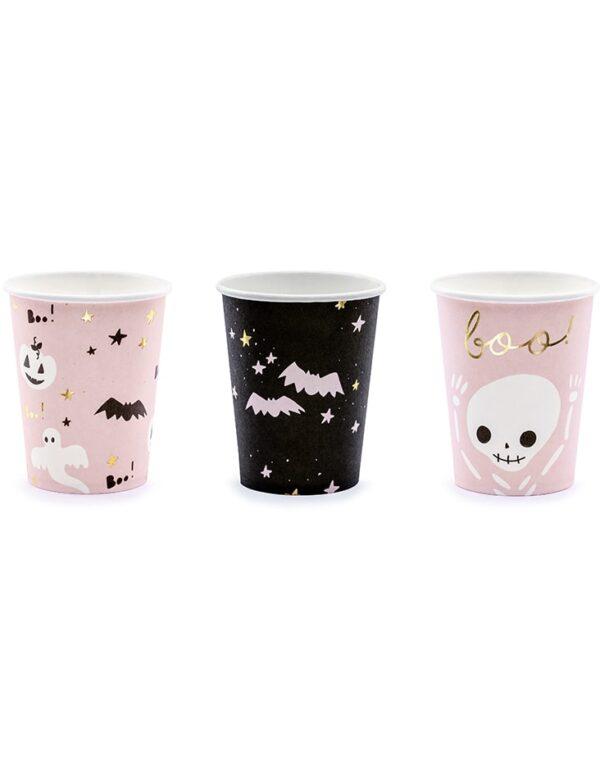6 stk Pappkrus 220 ml - Pink Halloween