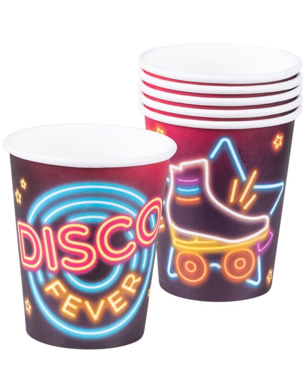 6 stk Pappkrus 250 ml - Disco Fever