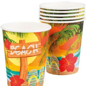 6 stk Pappkrus 250 ml - Hawaii Beach