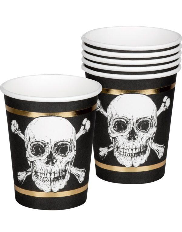 6 stk Pappkrus 250 ml med Gullfarget Foliert Kant - Golden Pirate