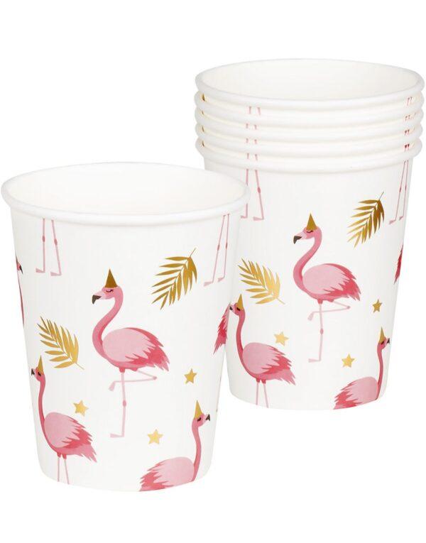 6 stk Pappkrus med Foliert Gulltrykk 250 ml - Flamingo Gold