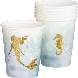 6 stk Pappkrus med Holografisk Gulltrykk 250 ml - Mermaids