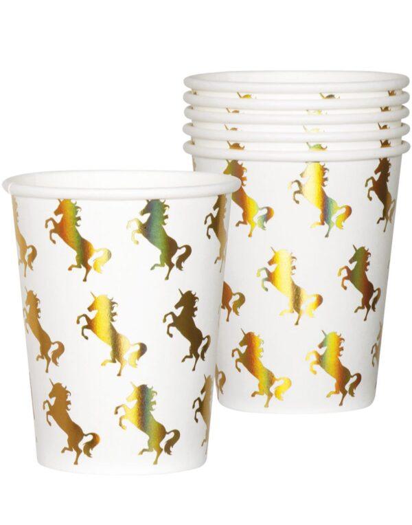 6 stk Pappkrus med Holografisk Trykk 250 ml - Unicorn Gold
