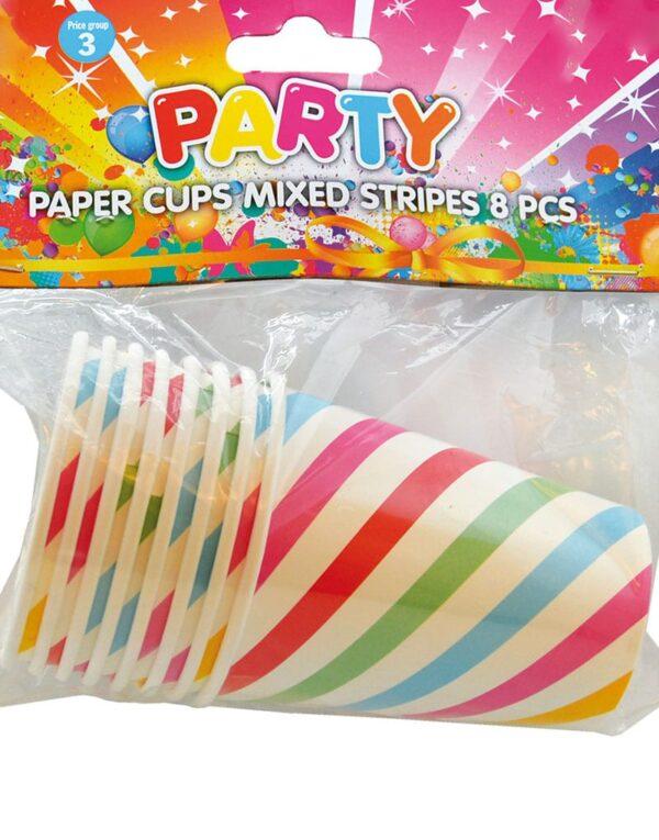 8 stk Hvite Pappkrus med Fargerike Striper