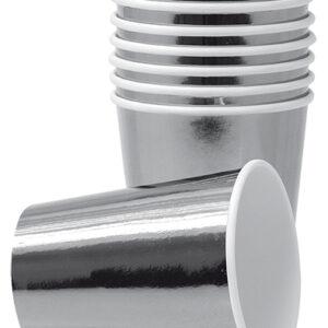 8 stk Metallisk Sølvfarget Pappkrus