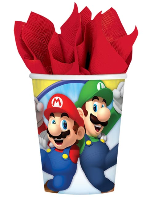 8 stk Pappkrus 266 ml - Super Mario Party