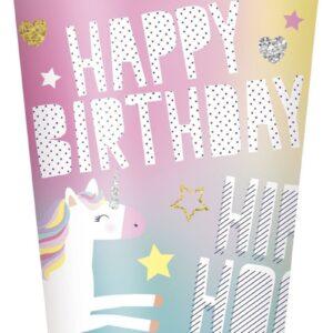 8 stk Pappkrus 270 ml - Happy Birthday Unicorn