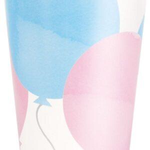 8 stk Pappkrus med Rosa og Blå ballonger - 270 ml