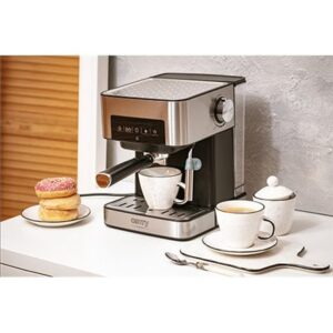 Camry Espresso og Cappuccino Kaffemaskin CR 4410 Pumpetrykk 15 bar, Innebygd melkeskummer, Drypp, 850 W, Svart/Rustfritt stål