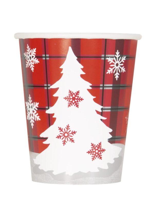 Sett med 8 kopper med Juletre og rustikk flettet - Rustikk Flettet Jul